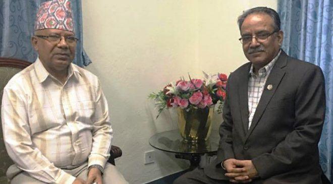 माओवादी केन्द्रका अध्यक्ष पुष्पकमल दाहाल 'प्रचण्ड' र एमालेका वरिष्ठ नेता माधवकुमार नेपालबीच भेटवार्ता