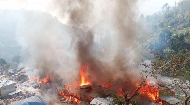 ताप्लेजुङको दोभान बजारमा भएको आगलागीका कारण करिब रु ४० करोड बराबरको क्षति